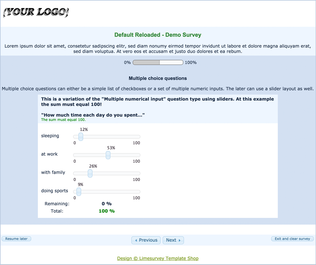 Limesurvey Template Default Reloaded