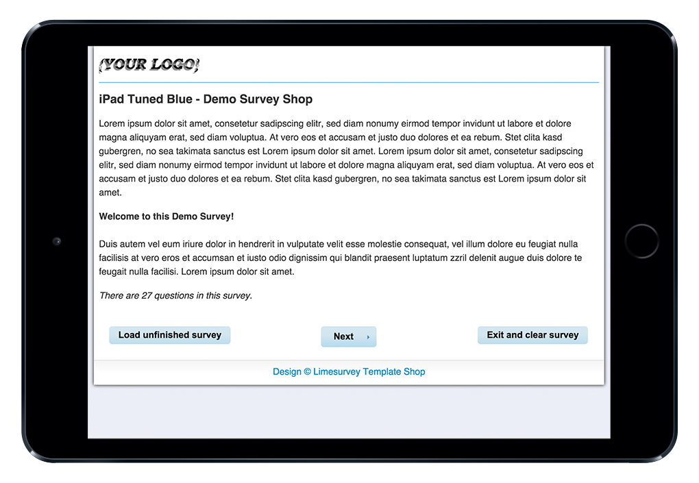 Limesurvey Template iPad Tuned Blue