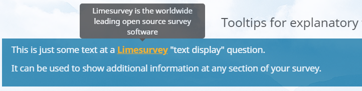 Highlighted Limesurvey tooltip