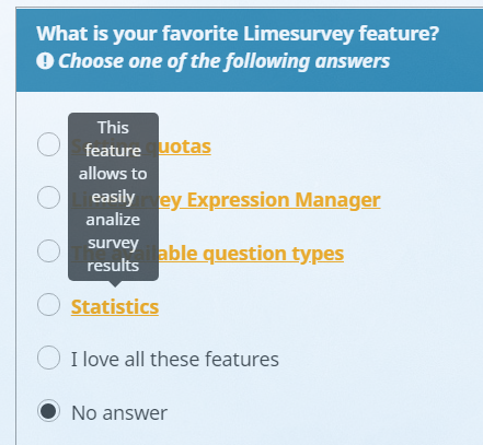 Example of answer options with tooltips