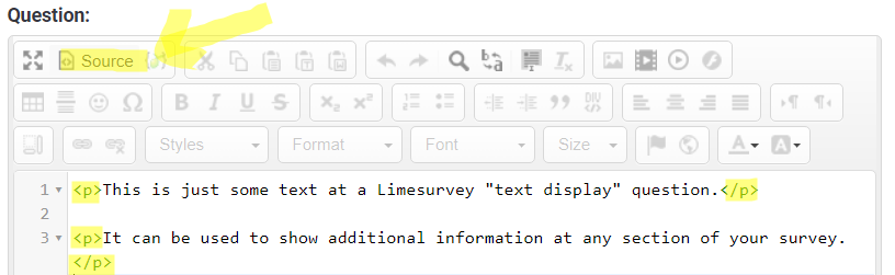 Limesurvey editor source code mode